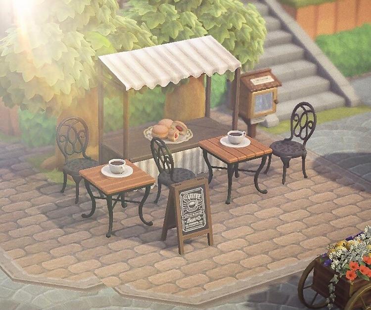 Outdoor Micro Cafe Coffee Stall - ACNH Idea