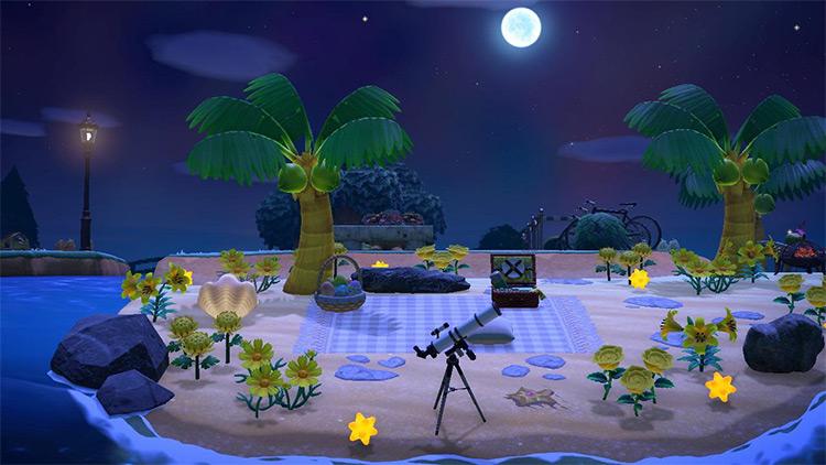 Stargazing area on the beach - ACNH Idea