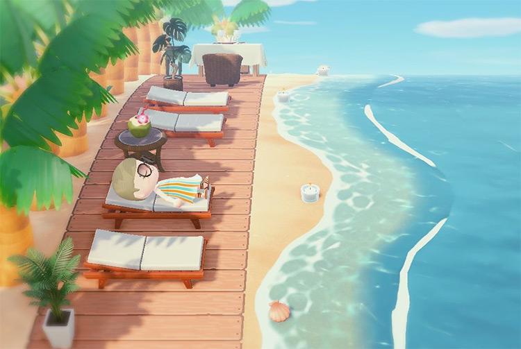 Sunbathing Deck on the beach - ACNH Idea