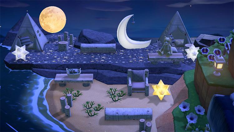 Sleepover Beach Area at Night - ACNH