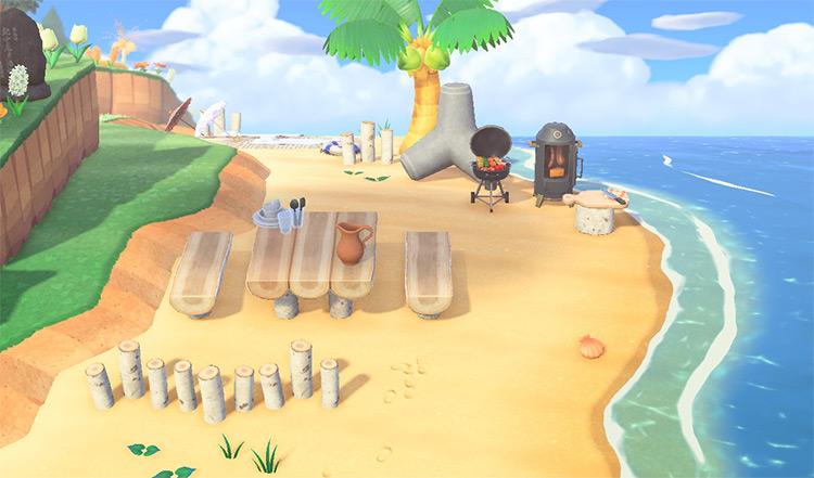 BBQ Area on the Beach - ACNH Idea