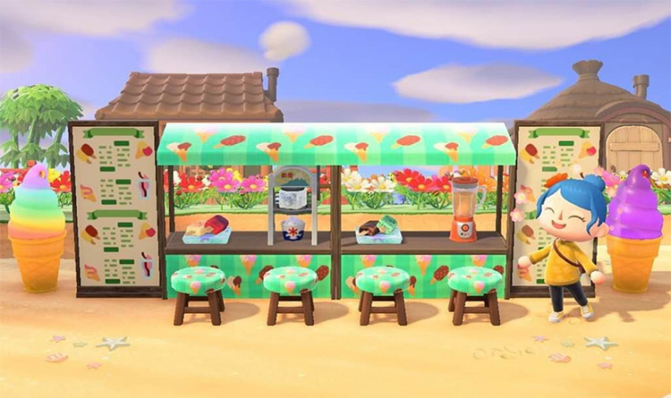 Ice Cream Shop Stalls on Beach - ACNH
