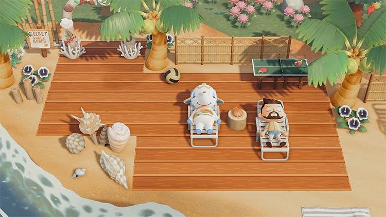 Relaxation terrace area on beach - ACNH