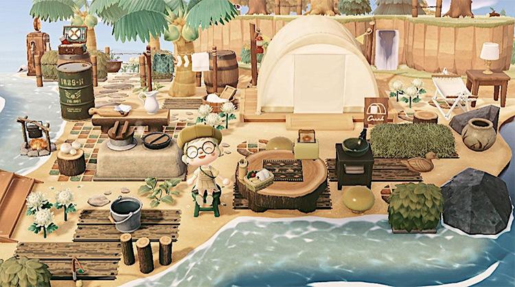 Campsite on the beach - ACNH Idea