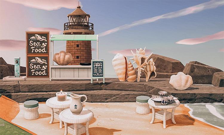 Seafood Restaurant On The Beach - ACNH Idea