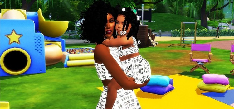 Mom and daughter matching outfits - TS4 Pose