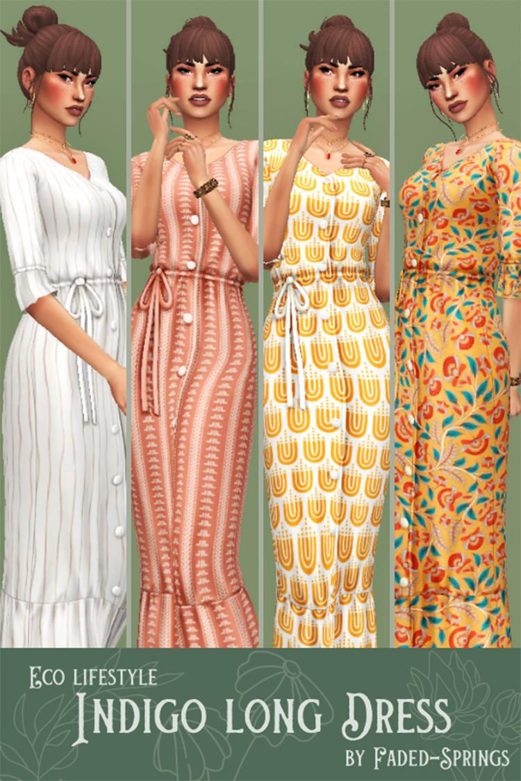 Indigo Long Dress CC for Mom - Sims 4