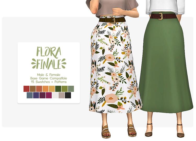 Floral Skirt Design for Moms - Sims 4 CC