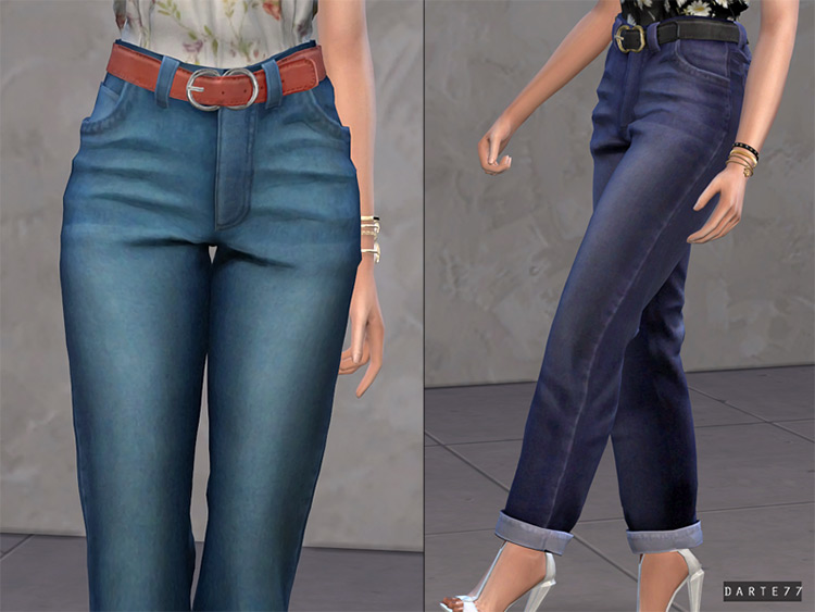 Belted Mom Jeans CC - Sims 4
