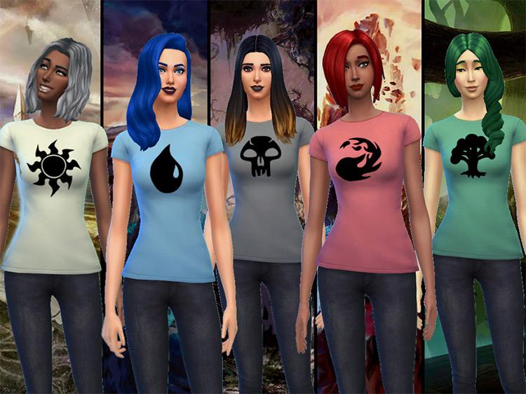 Magic the Gathering Mana Shirts for Women - Sims 4 CC