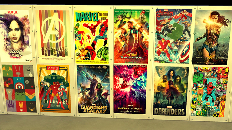 Marvel/DC-Themed Posters - Sims 4 CC