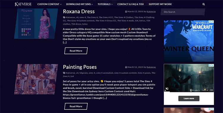 Katverse CC Creator Website Screenshot