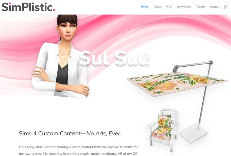 SimPlistic CC Creator Website Screenshot
