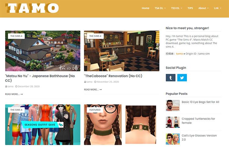 Tamo CC Creator Blog Screenshot