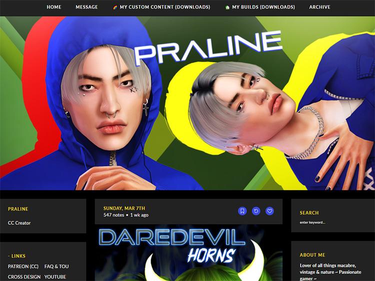 Pralinesims CC Maker Website SCreenshot