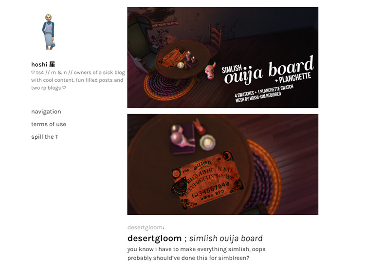 Hoshi CC Creator Tumblr Screenshot