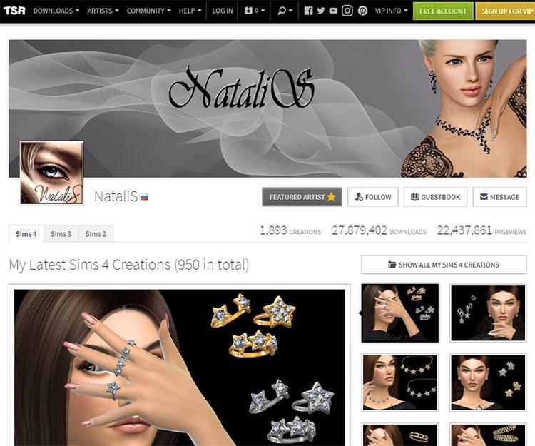 NataliS The Sims Resource Page Screenshot