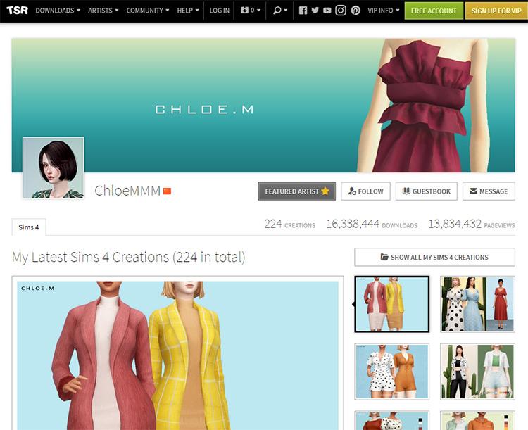 ChloeMMM TSR Website Screenshot