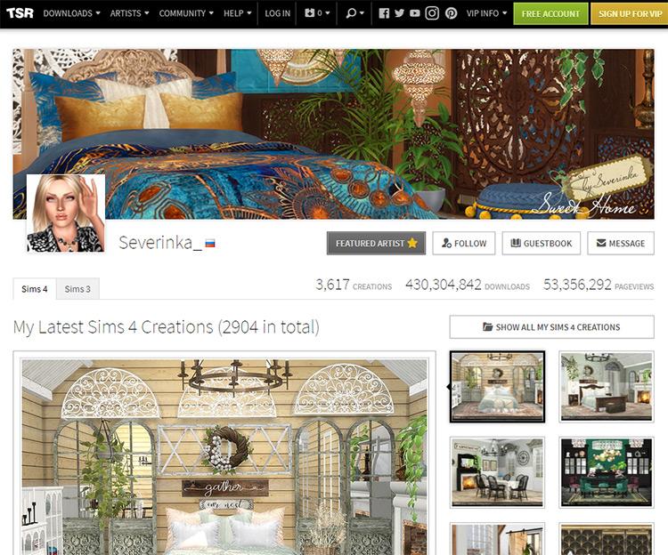 Severinka_ Sims Resource Webpage Screenshot