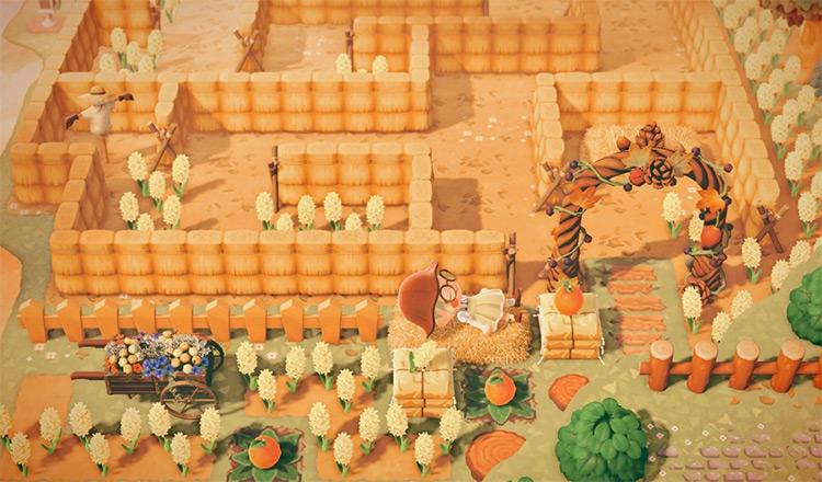 Straw Autumn Maze Idea for ACNH