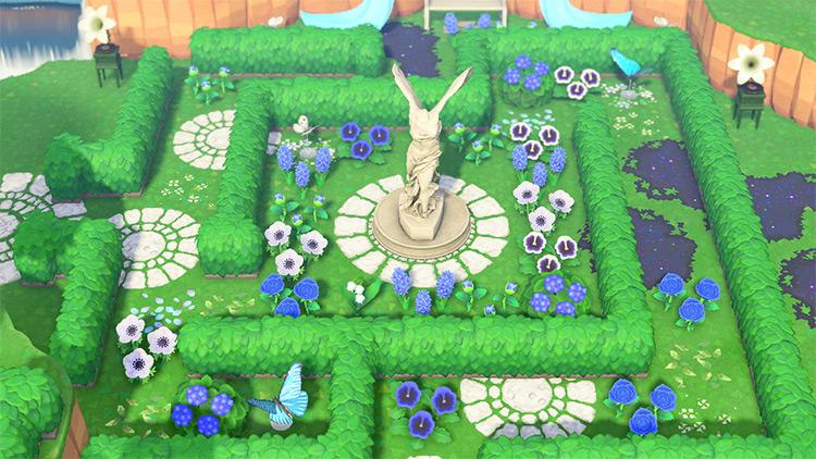 Shrub Maze with Statue - ACNH Idea