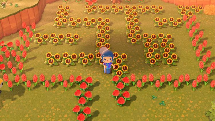 Flower-designed maze idea in ACNH
