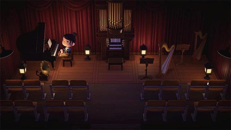 Basement concert hall build - ACNH Idea