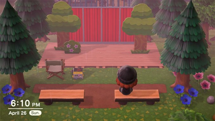 Simple backyard music stage in ACNH