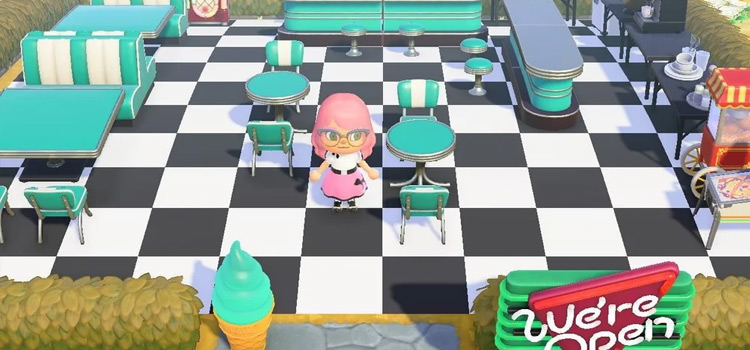 Simple checkered flooring diner area - ACNH preview