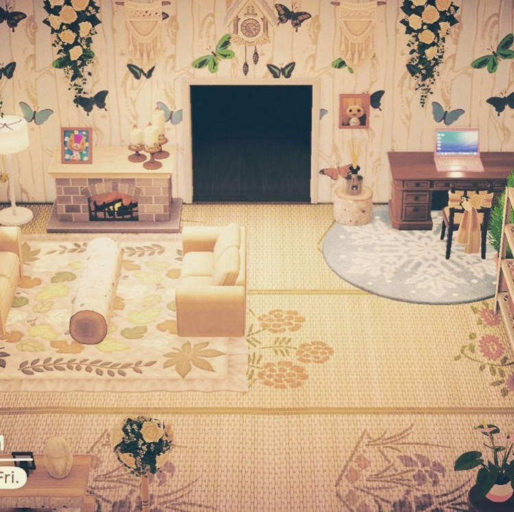 Butterfly Garden Living Room Idea - ACNH