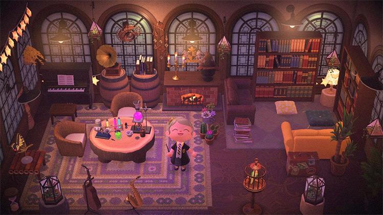 Harry Potter Hogwarts-themed Living Room - ACNH Idea
