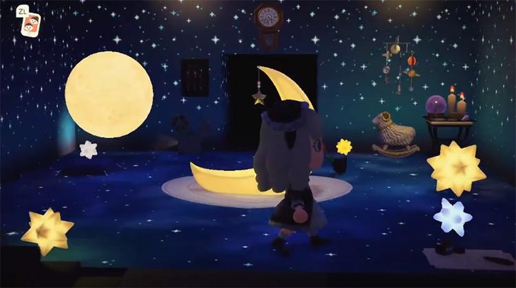 Starry Nighttime Living Room Aesthetic - Acnh