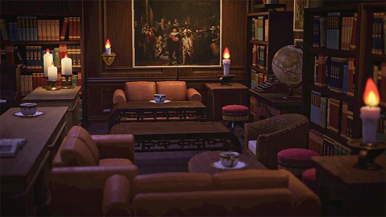 Basement Library Living Room Idea - ACNH