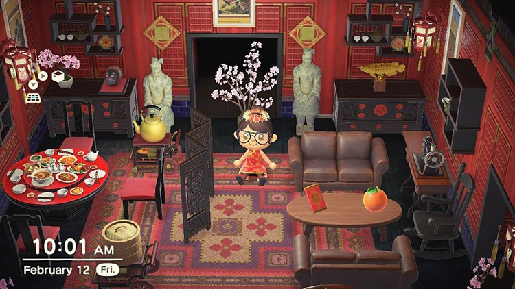 Chinese Restaurant Living Room in ACNH