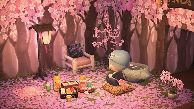 Cherry Blossom Living Room Idea - ACNH