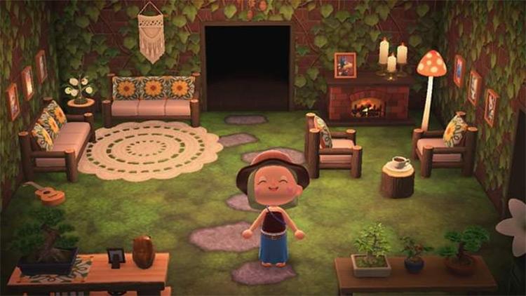Hobbit Hole Living Room - ACNH Idea