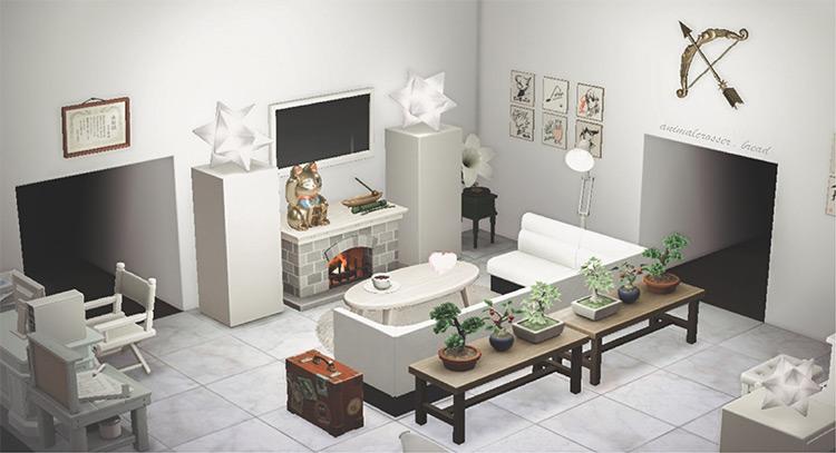 Monochrome living room design - ACNH
