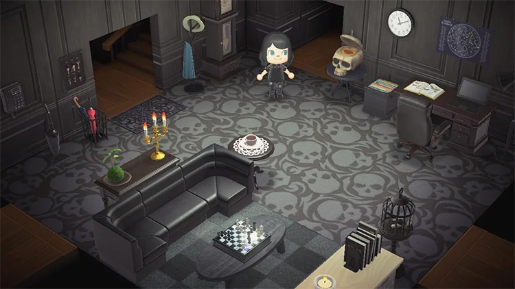 Goth-inspired dungeon living room - ACNH