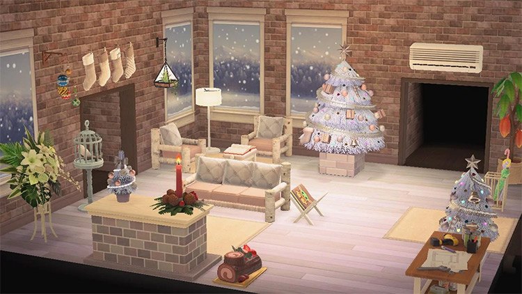 Christmas-themed Living Room in New Horizons