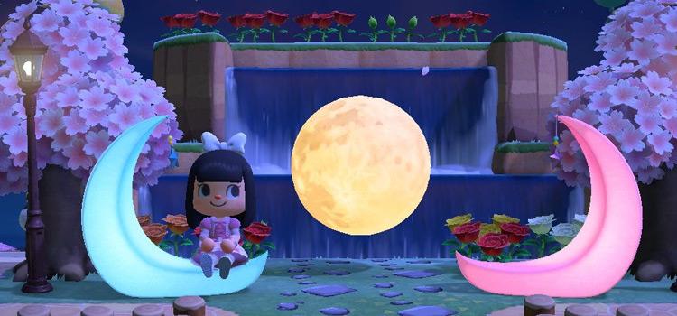 Colorful moon entrance idea - ACNH Screenshot