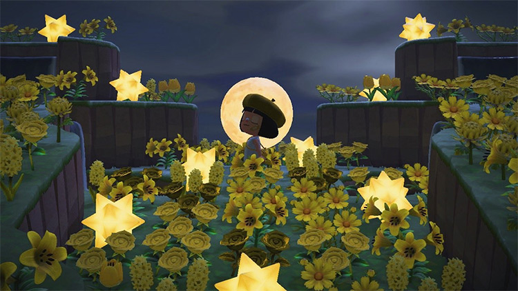 Golden flowers and moon entrance - ACNH