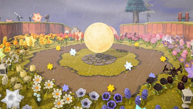Rainbow Flowers and a Moon - ACNH