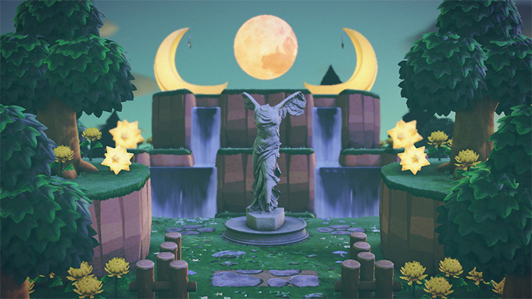 Waterfalls with a Moon - ACNH Idea
