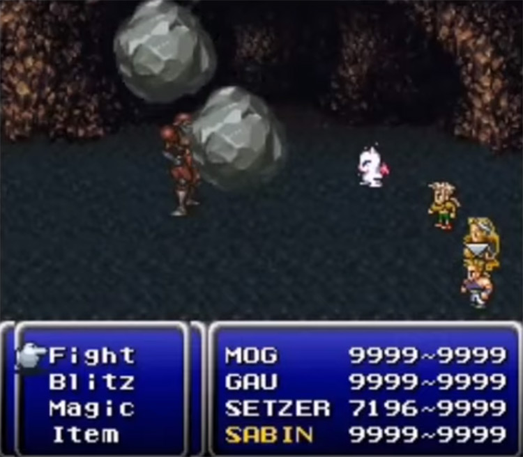 Twilight Requiem Cave In Ability - FF6 SNES Screenshot