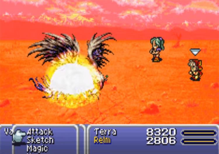 Firaga spell battle in FF6