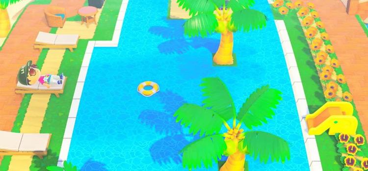 Bright poolside resort area - ACNH Screenshot