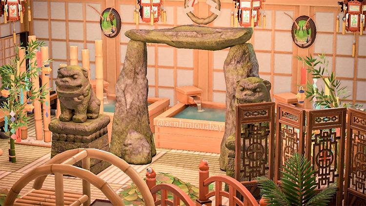 Custom Japanese-themed Bathouse in ACNH