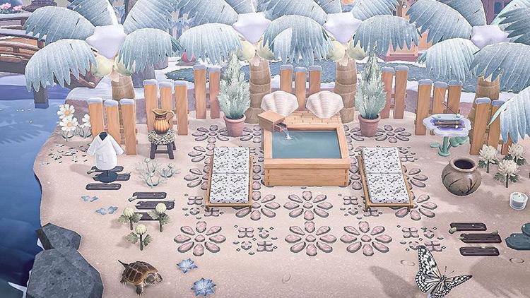 Outdoor snowy spa in winter - ACNH