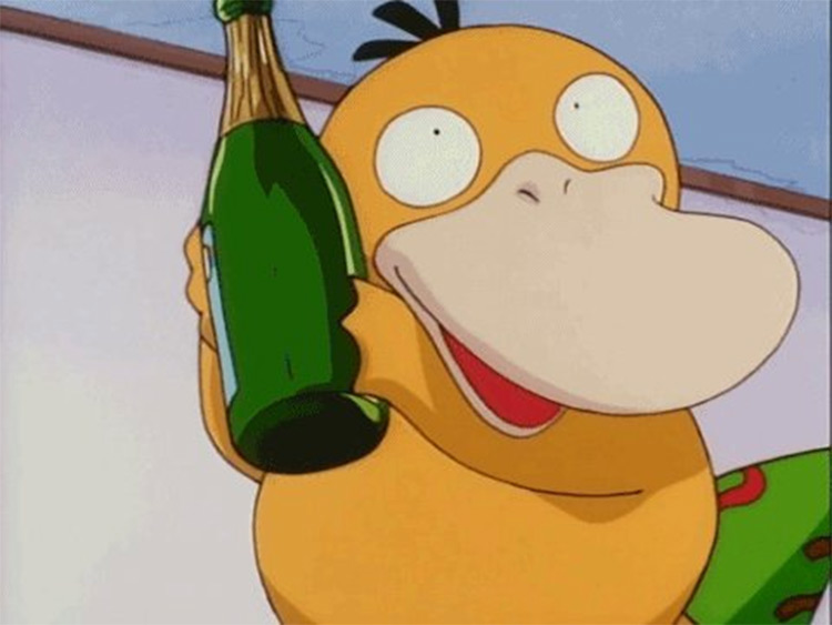 Psyduck with Champagne Bottle in Pokemon Anime