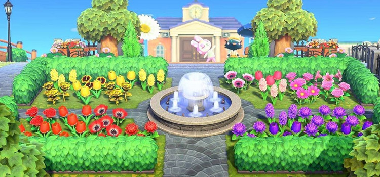 Town Square with Flowers and a Fountain - ACNH Screenshot